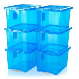CRYSTAL BOX C/COP 33X43 H25 24LT BOXLID TRASP BLUE