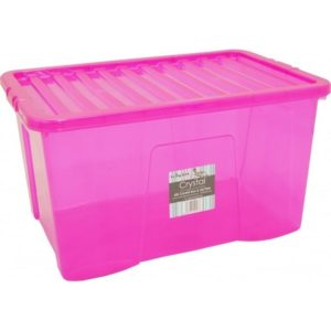CRYSTAL BOX 45LT C/COP.  ROSA TRASP. 60X40X25