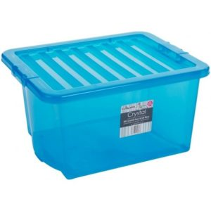 CRYSTAL BOX 35LT TRASP. BLU 49X39X26