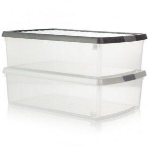 13.01 WHAM CLIP 30L BOX  LID CLEAR/ALUMINIUM/SILVER