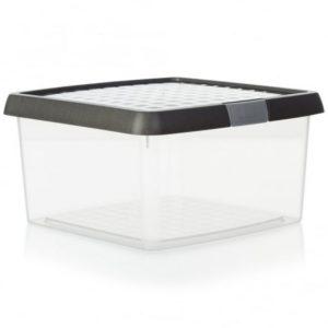 10.02 WHAM CLIP 25.5L BOX  LID CLEAR/ALUMINIUM/SILVER