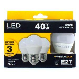 CF3 LED SFERETTA 6W/40W E27 LUCE CALDA