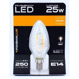 LAMPADINA LED A FILAMENTI TORTIGLIONE E14 EQU. 25W LUCE CALDA