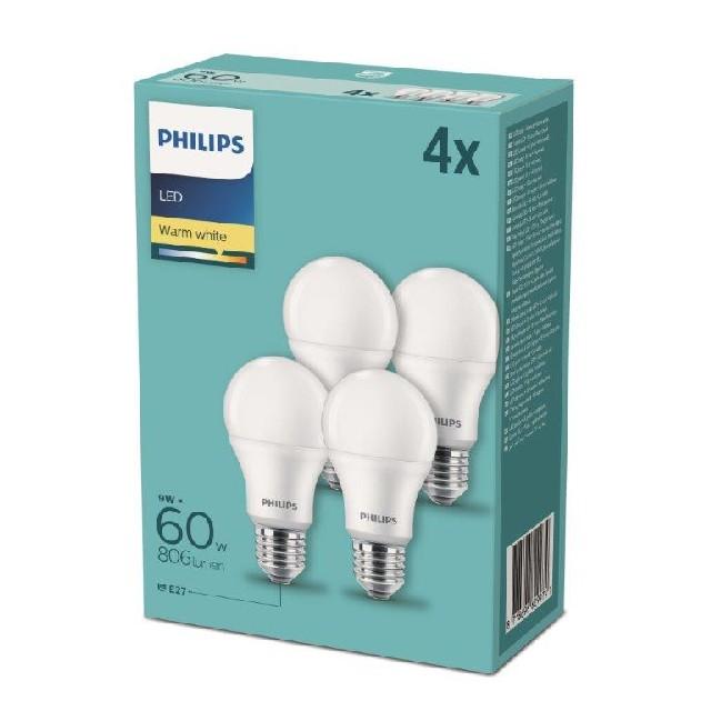 PHILIPS LED 4 LAMPADINE 60W E27