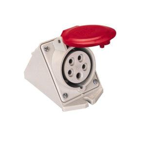 PRESA INCLINATA DA PARETE IEC309 16A 3P N T 346 415V    IMQ CE