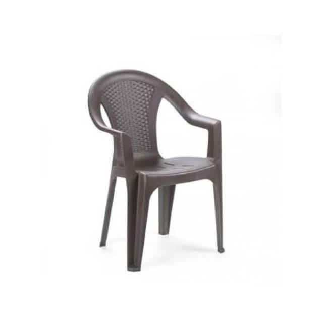 Sedie Plastica Per Giardino.Sedia Ischia Bassa Antracite Effetto Rattan Impilabile