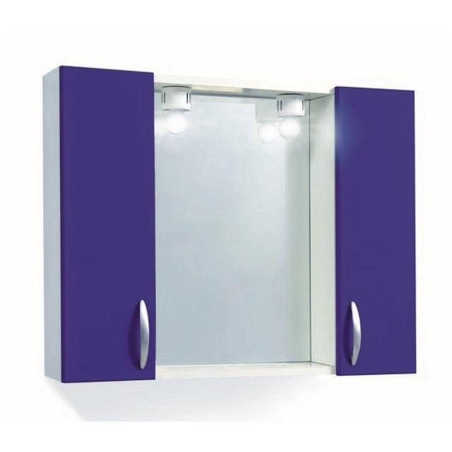 Specchiera Bagno 2 Ante Lucide Blu Elettrico - Mondobrico