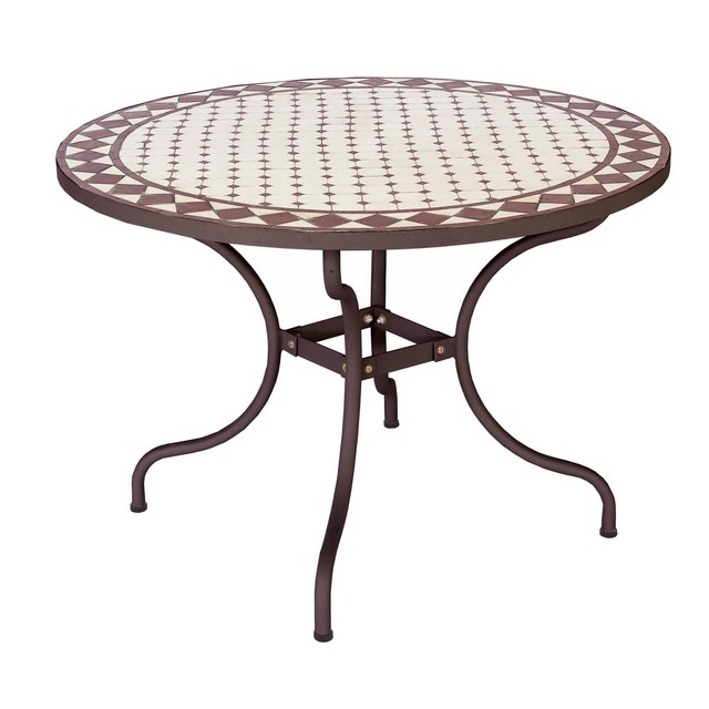 Tavolo in ferro duke tondo mondobrico arredo giardino - Tavolo in pietra giardino ...