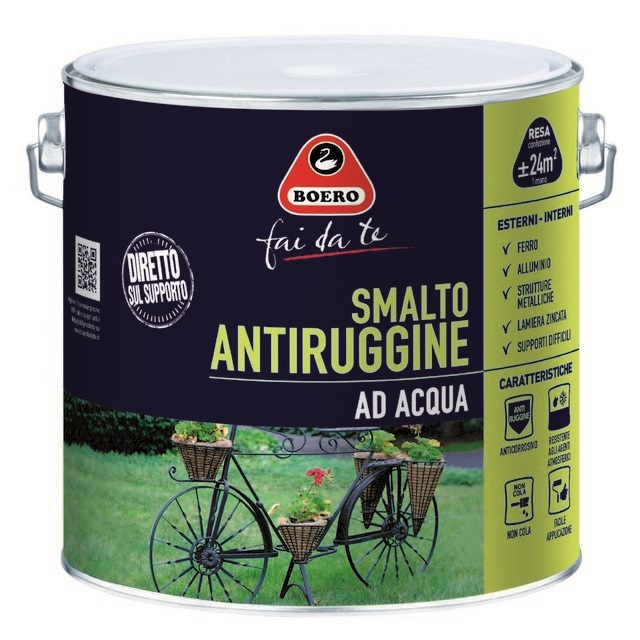 0.5LT SMALTO ANTIRUGGINE ALL'ACQUA NERO