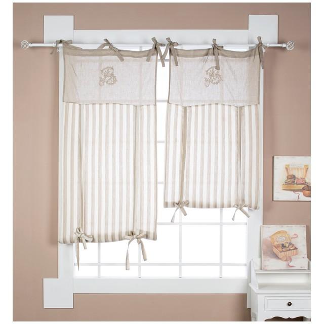 Tenda per finestra a pacchetto 60x120 cm lino cotone righe beige con mantovana ricamo for Tenda bagno finestra
