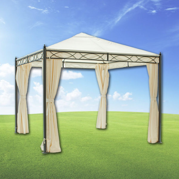 Gazebo formia 3x3 mt con tende lateral mondobrico for Arredo gazebo giardino
