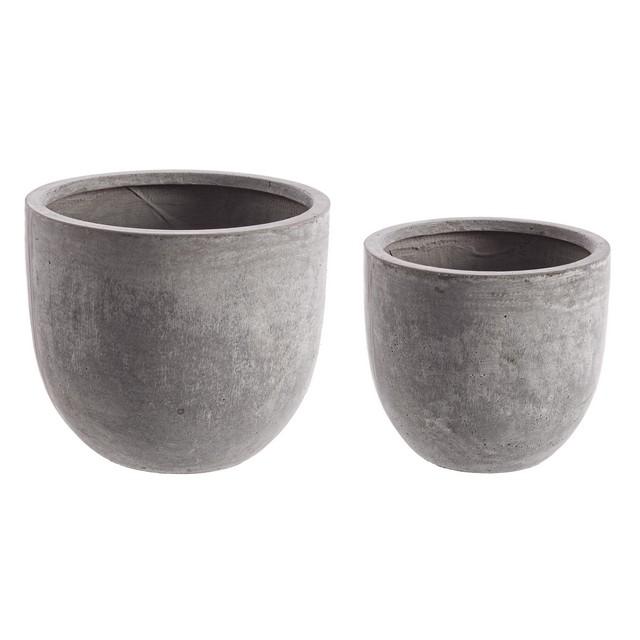 Set 2 vasi cemento basso grigio mondobrico giardino for Arredo giardino in cemento