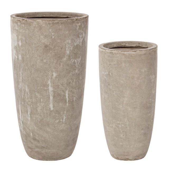 Set 2 vasi cemento alto sabbia mondobrico giardino for Arredo giardino in cemento