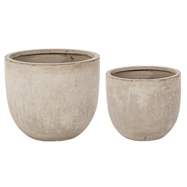 Set 2 vasi cemento bassi sabbia mondobrico giardino for Arredo giardino in cemento
