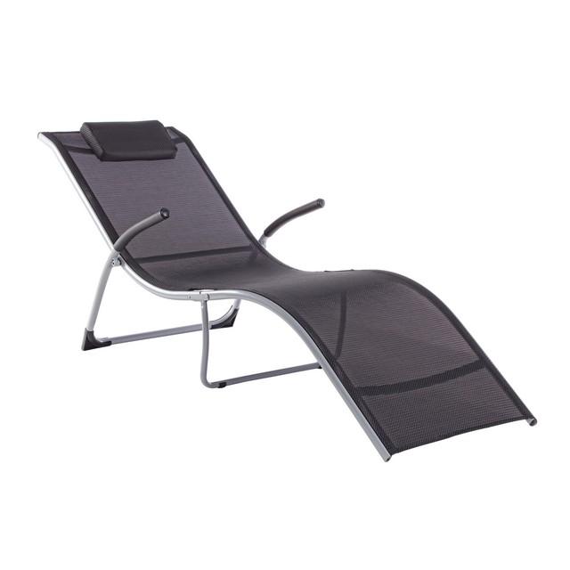 Chaise longue con braccioli nero mondobrico giardino - Chaise longue giardino ...